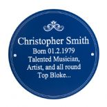 Heritage Plaque, indoor / outdoor PERSONALISED,  ref BHP1